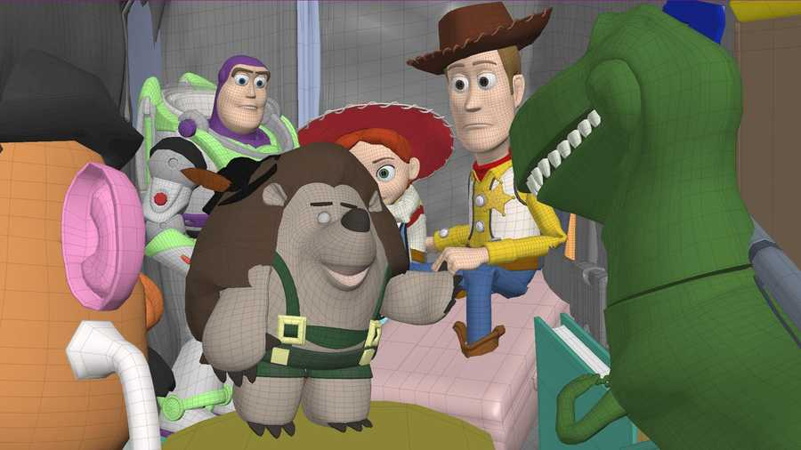 """Characters and sets are created in the computer, via a process known as Modeling, by technical directors. Shading will be applied to the characters and sets to fill in the textures, colors, patterns and material properties that will add dimension to the scene when lit by the Lighting department. Disney/Pixar's first special for television, """"Toy Story OF TERROR!,"""" a spooky new tale featuring all of your favorite characters from the """"Toy Story"""" films."""