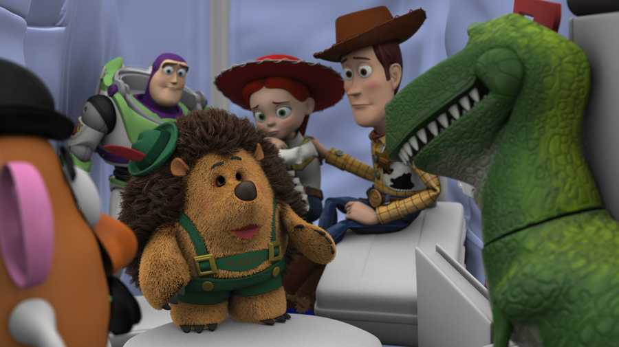 """When Layout is complete, the primary and secondary characters are animated into poses by the Animation department. The Simulation department adds movement to the hair and garments through computer simulation. This allows the hair and garments to move naturally with the characters' actions. Final character shading is also completed by the Characters department to add textures and colors to the garments and props. Disney/Pixar's first special for television, """"Toy Story OF TERROR!,"""" a spooky new tale featuring all of your favorite characters from the """"Toy Story"""" films."""