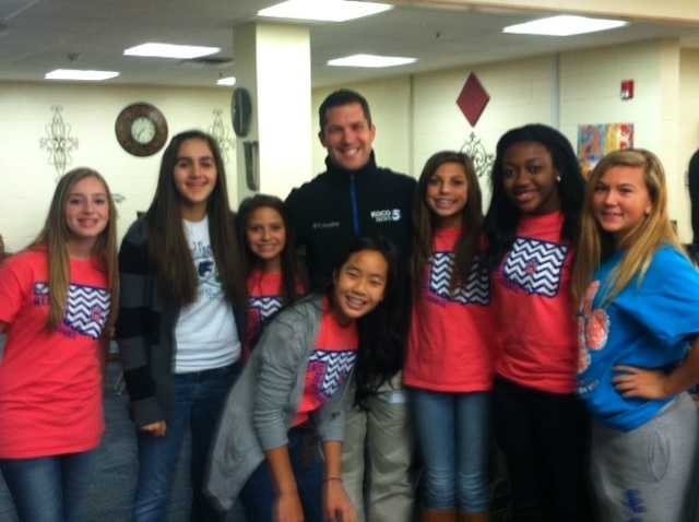 KOCO 5 News chief meteorologist Damon Lane and some Highland East students
