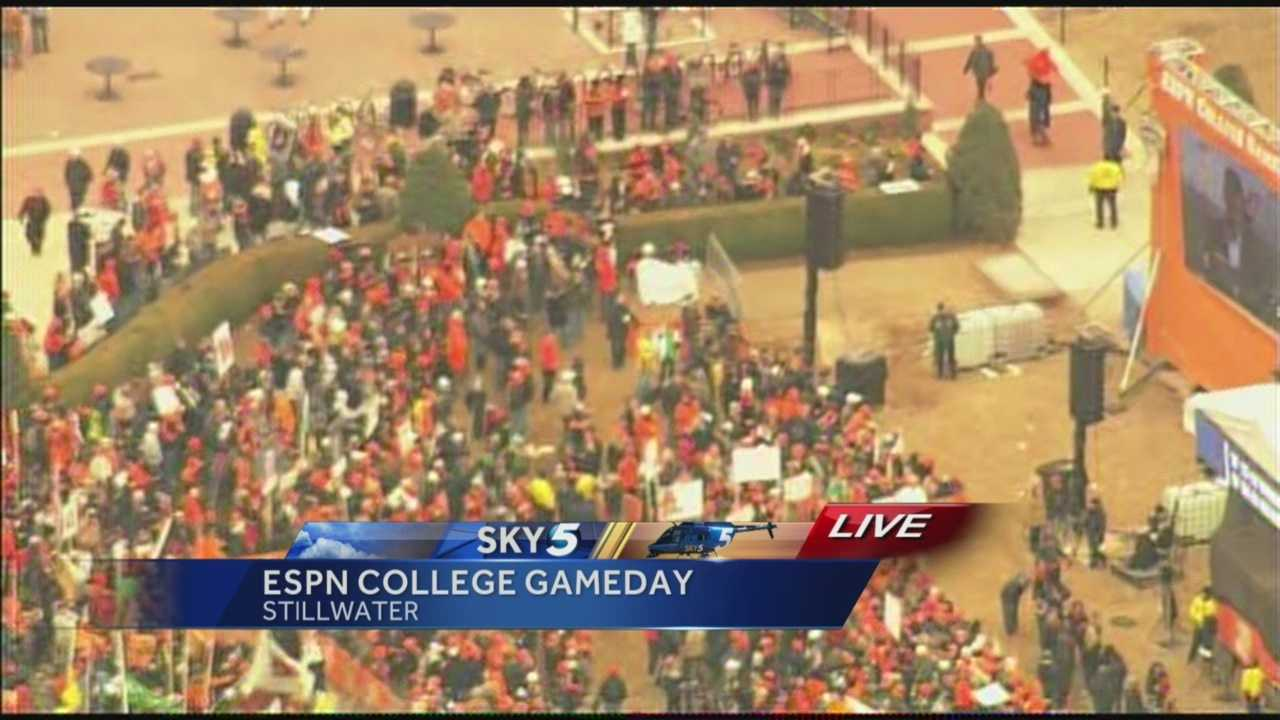 Sky 5 spotted dozens of Cowboy fans on the OSU campus early Saturday morning, hours ahead of the big game against the Baylor Bears.