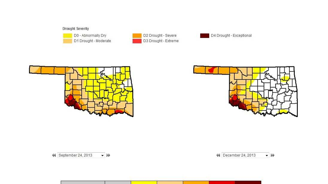 U.S. Drought Monitor levels for Oklahoma from start of fall to start of winter.