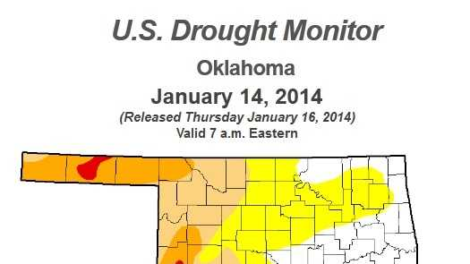 Current Oklahoma drought levels courtesy the U.S. Drought Monitor.