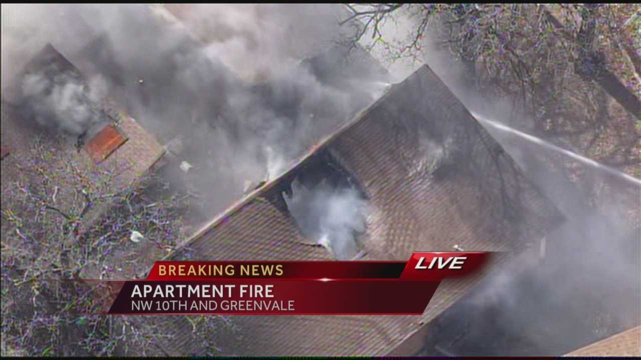 Crews were at the scene of an Oklahoma City apartment blaze Monday afternoon.