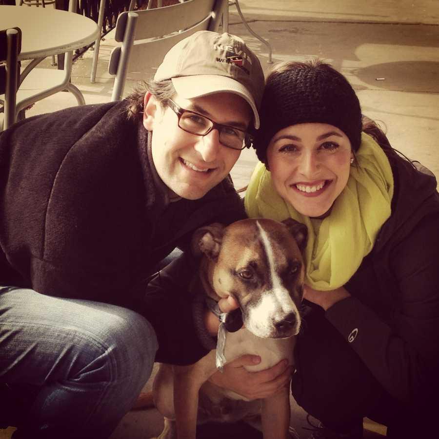 Weekend anchor Erielle Reshef's family and dog Izador.