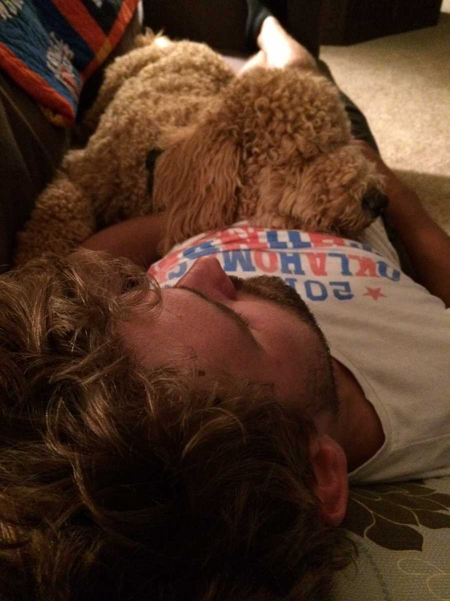 Wattie - Goldendoodle. Napping with his dad