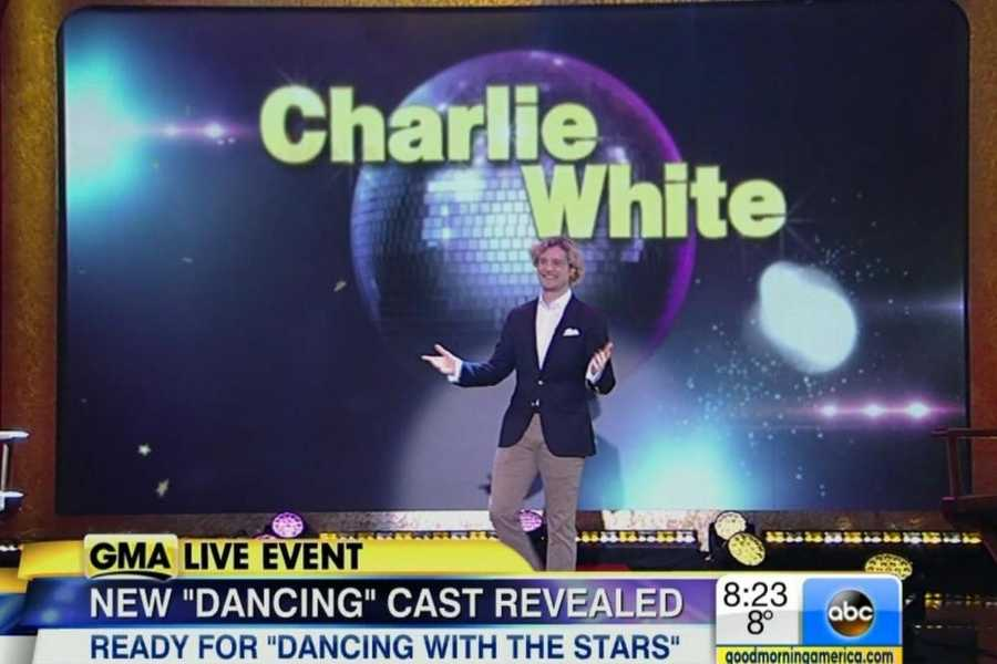 Gold Medal Olympian Charlie White.The American ice dancing star will trade skates his skates for dancing shoes this season.Pro Partner: Sharna Burgess