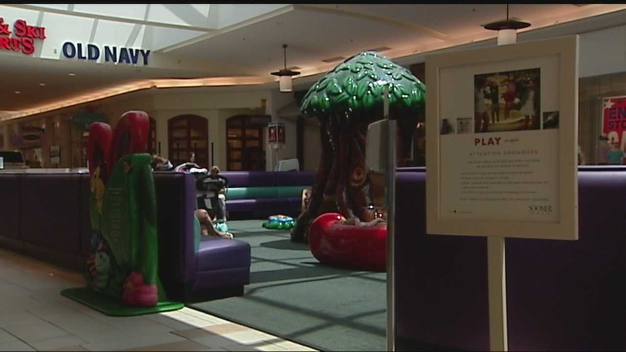 The children's play area at Sooner Mall is a popular place for parents with younger children. But a woman saw something that disturbed her and now police are searching for a suspect.
