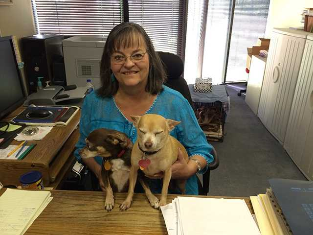 Spice and Speck with their human, Victoria.