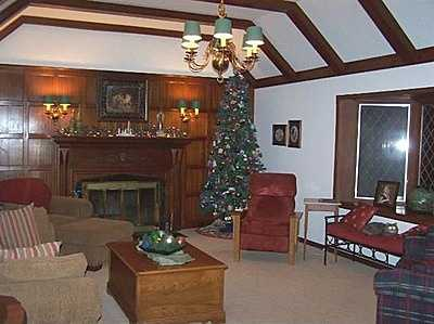 The English Tudor home has a formal dining room, office, wood-burning fireplace, updated bathroom and kitchen, security system, and oversized in-ground pool.See the listing.