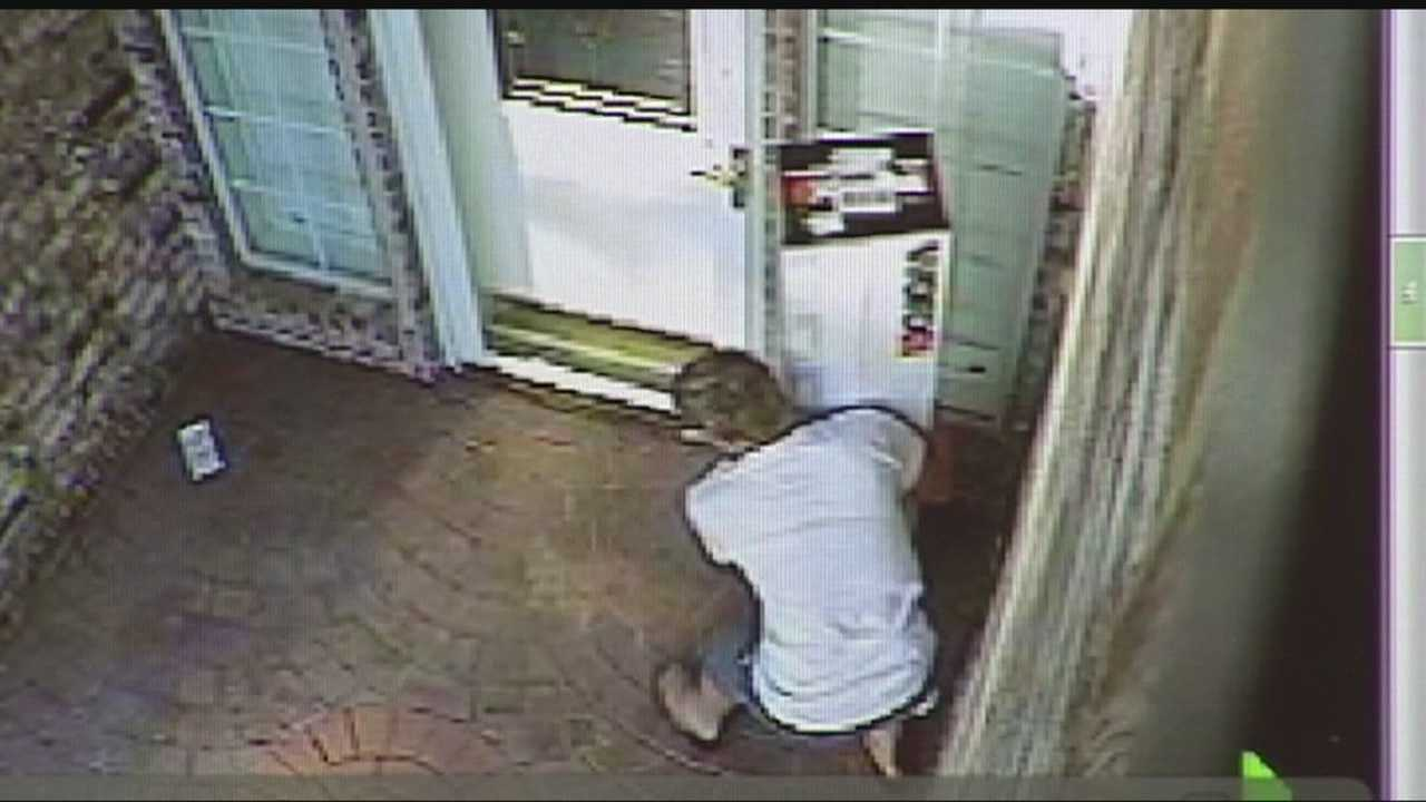 A surveillance camera caught thieves in the act of stealing packages off front porches.