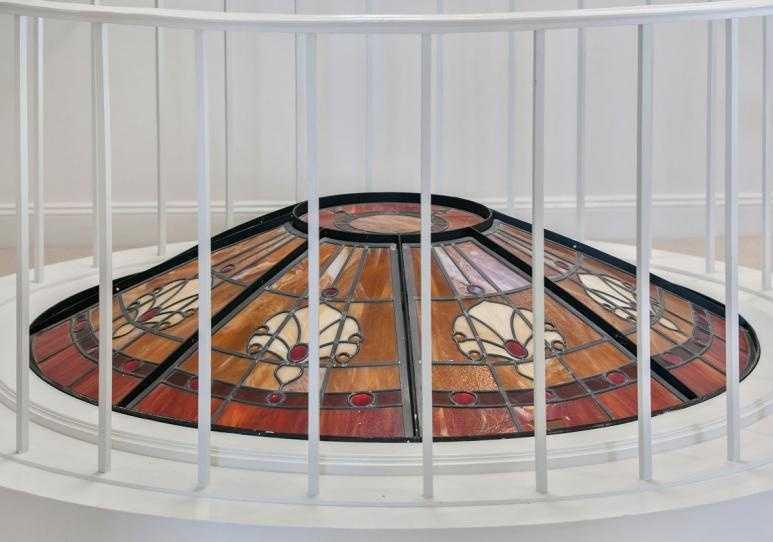 A closer view of the art-glass skylight.