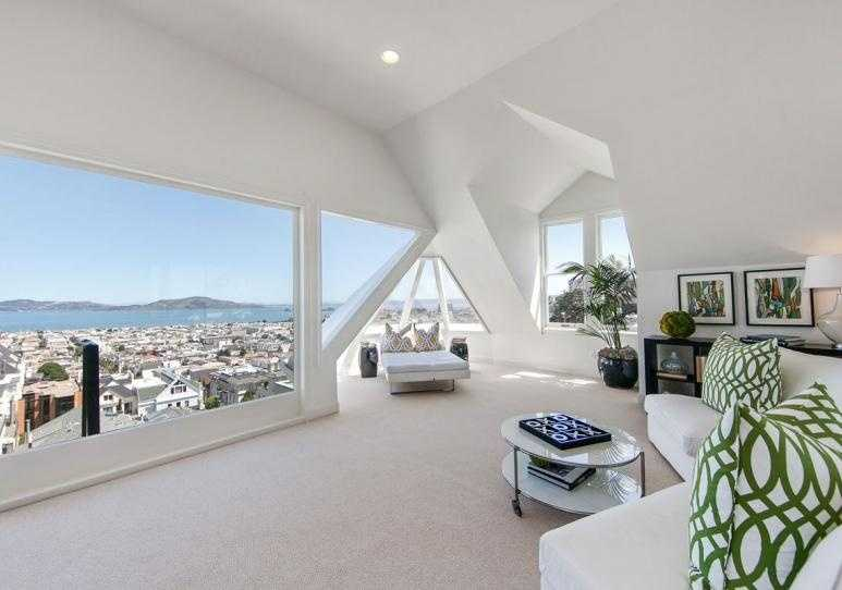 """The top floor also houses what the listing calls a """"pentroom."""""""