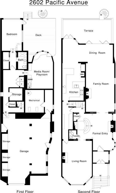 The floor plan for the bottom two levels of 2602 Pacific Avenue in San Francisco. The home was built in 1889 and has 6 bedrooms and 6.5 baths.