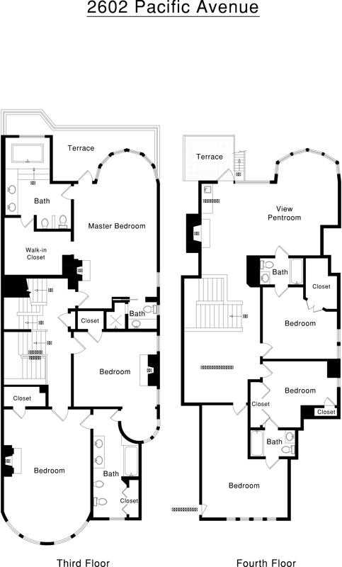 The floor plan for the top two levels of 2602 Pacific Avenue in San Francisco. It's listed for $8,995,000.