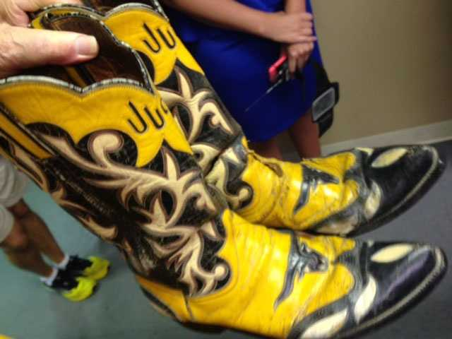 Jude Northcutt's boots are custom-made. He said he paid $30 for the boots 60 years ago, but they would cost $1,000 or more now to make.