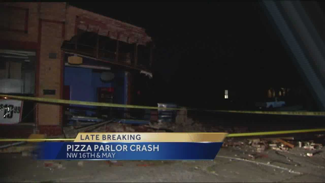 Oklahoma City police were at the scene of a vehicle that crashed into a pizza parlor overnight Monday.