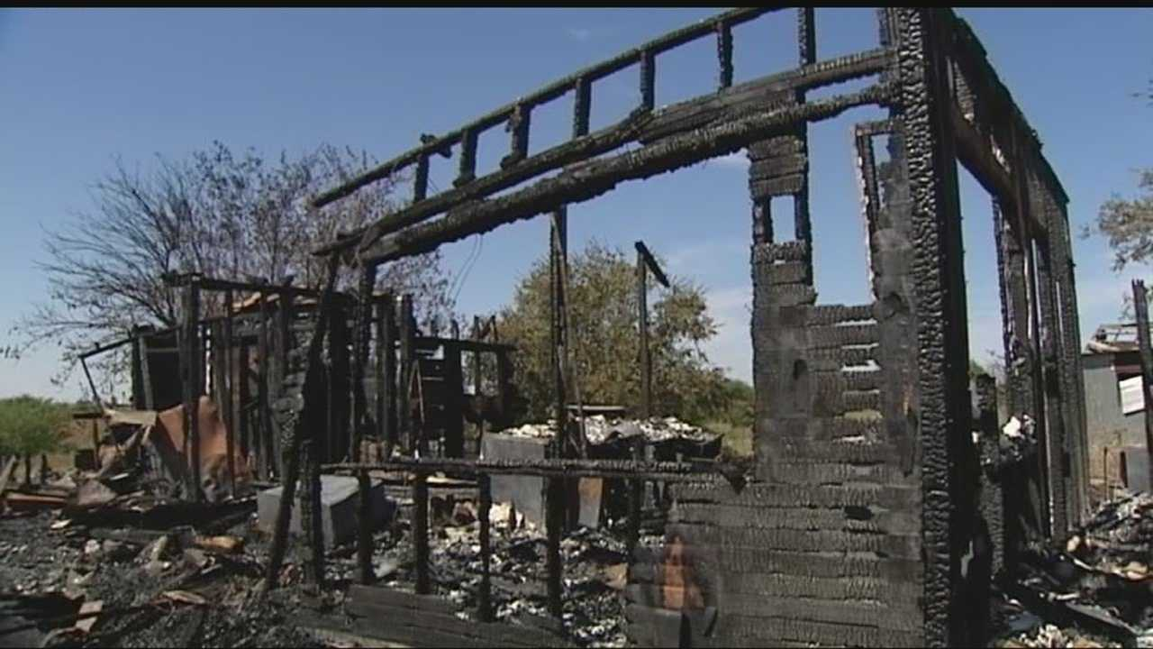 A home sits gutted after a fire that investigators say may have been caused by a meth lab.