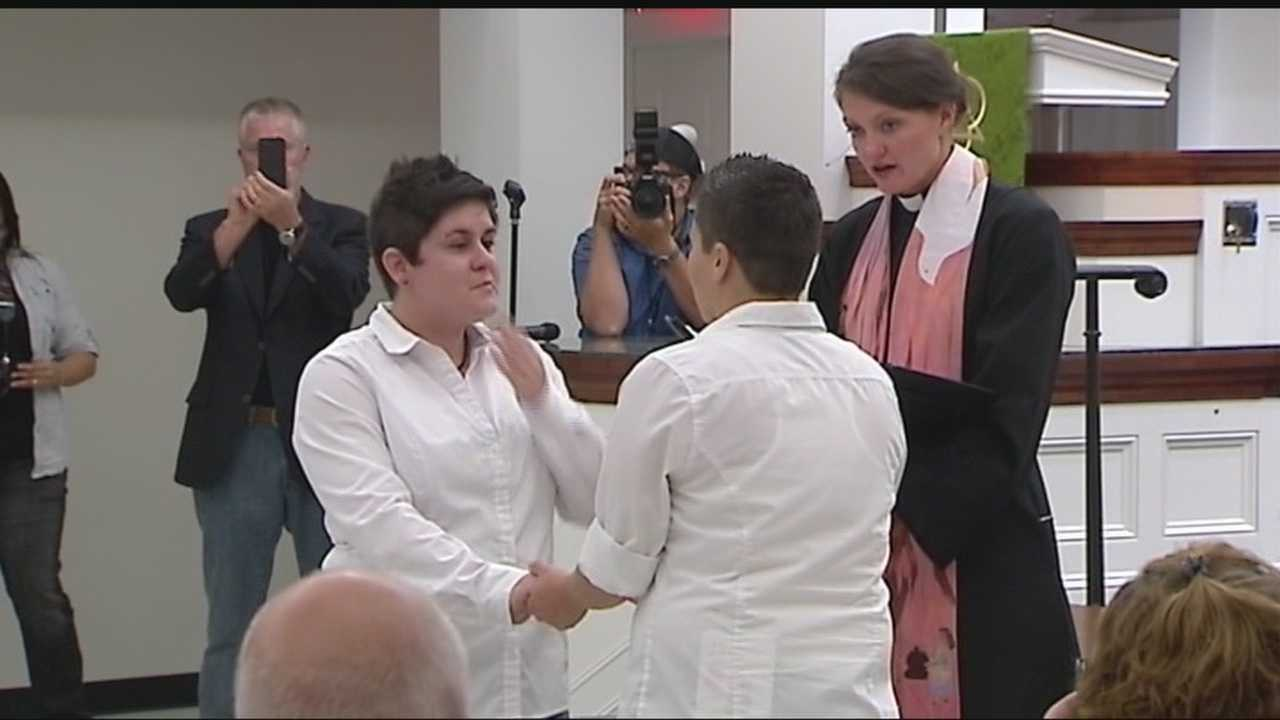 A minister married seven same-sex couples in one location Monday nigh after same-sex marriage was legalized in Oklahoma.