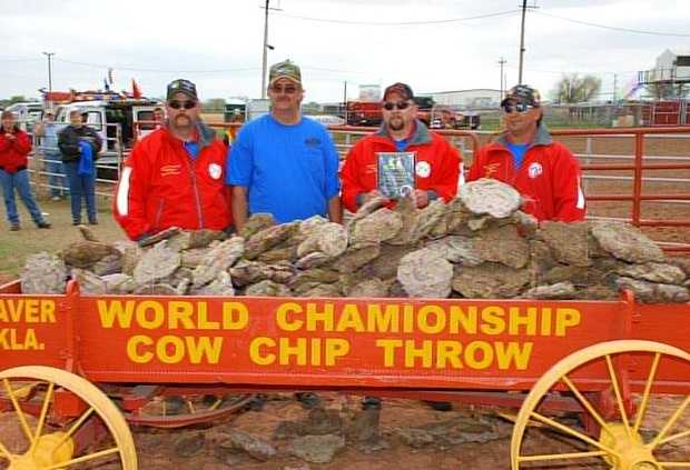 Each April, the town of Beaver, Oklahoma, is host to the World Championship Cow Chip Throw. You can enter one of four divisions: Men's Open, Women's Open, Teams (4 people) and VIP. The tradition began in the 1970s as a way to pay homage to Oklahoma's early settlers, who would trade wagonloads of cow chips (which were used as cooking fuel) for for food and supplies.