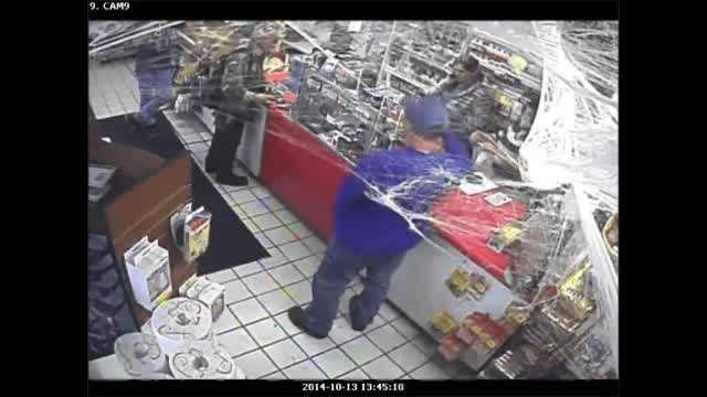 Police are looking for the identities of two men who walked into a south Oklahoma City convenience store and stole a display case of lottery tickets.