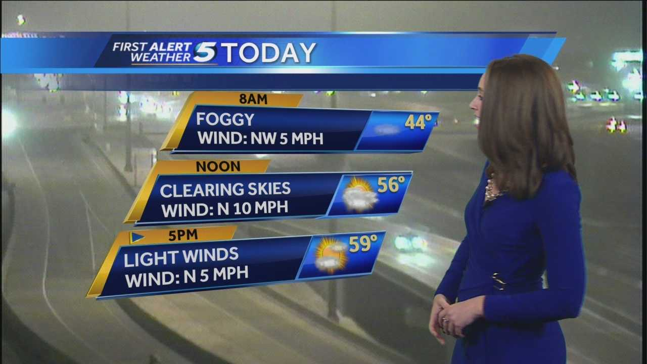 KOCO meteorologist Shelby Hays says your morning commute could be foggy, but highs will be in the upper 50s this afternoon.