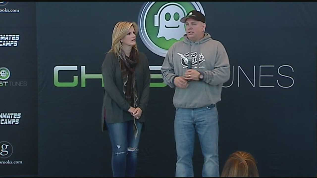 Garth Brooks and his wife Trisha Yearwood spoke to the media Friday before their concert in Tulsa.