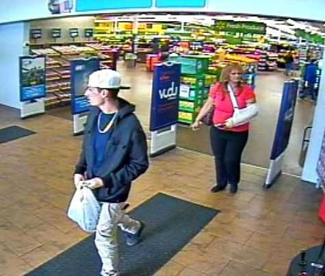 The Oklahoma County Sheriff's Office is working to identify two people tied to a credit card theft in Choctaw.