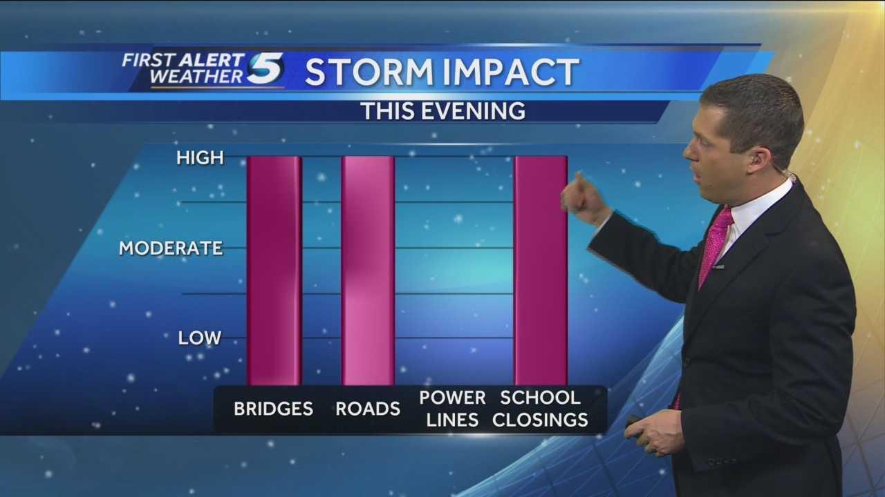 Chief Meteorologist Damon Lane shows the chance of school closings tomorrow.