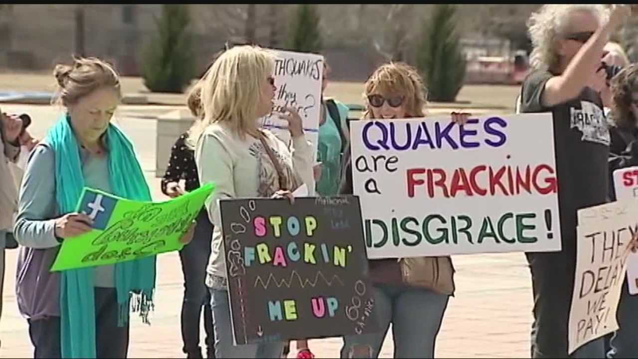 Dozens of protesters showed up to the Oklahoma State Capitol calling for a moratorium to stop fracking.