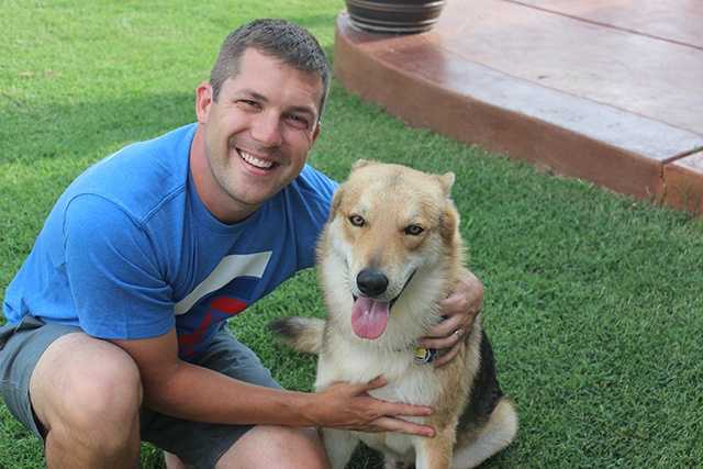 Chief meteorologist Damon Lane and his dog.