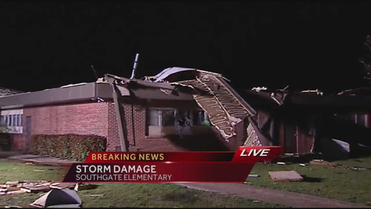Southgate Elementary School in Moore took heavy tornado damage Wednesday night.