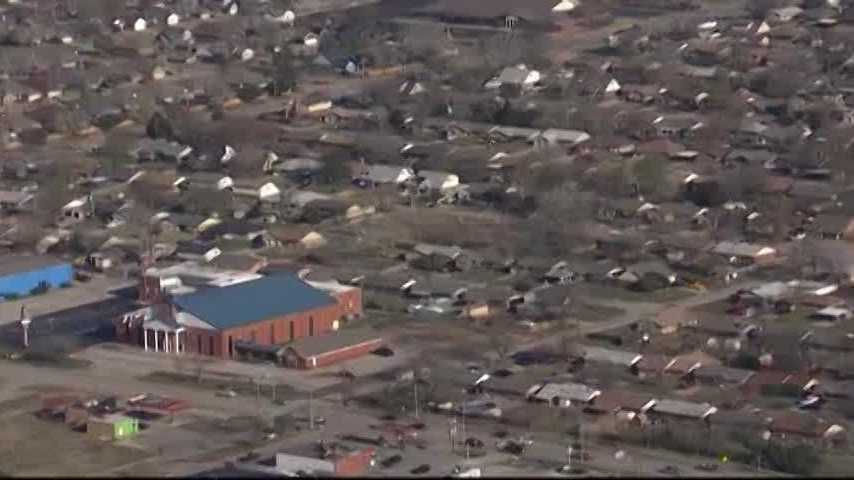 Sky 5 flies over damage in Moore from Wednesday's storms.