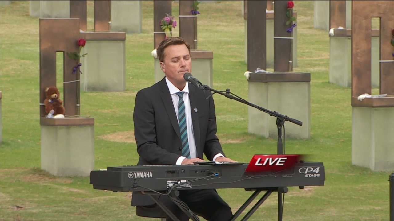 "Michael W. Smith performed ""There She Stands"" during the 20th anniversary remembrance ceremony at the Oklahoma City Memorial and Museum."
