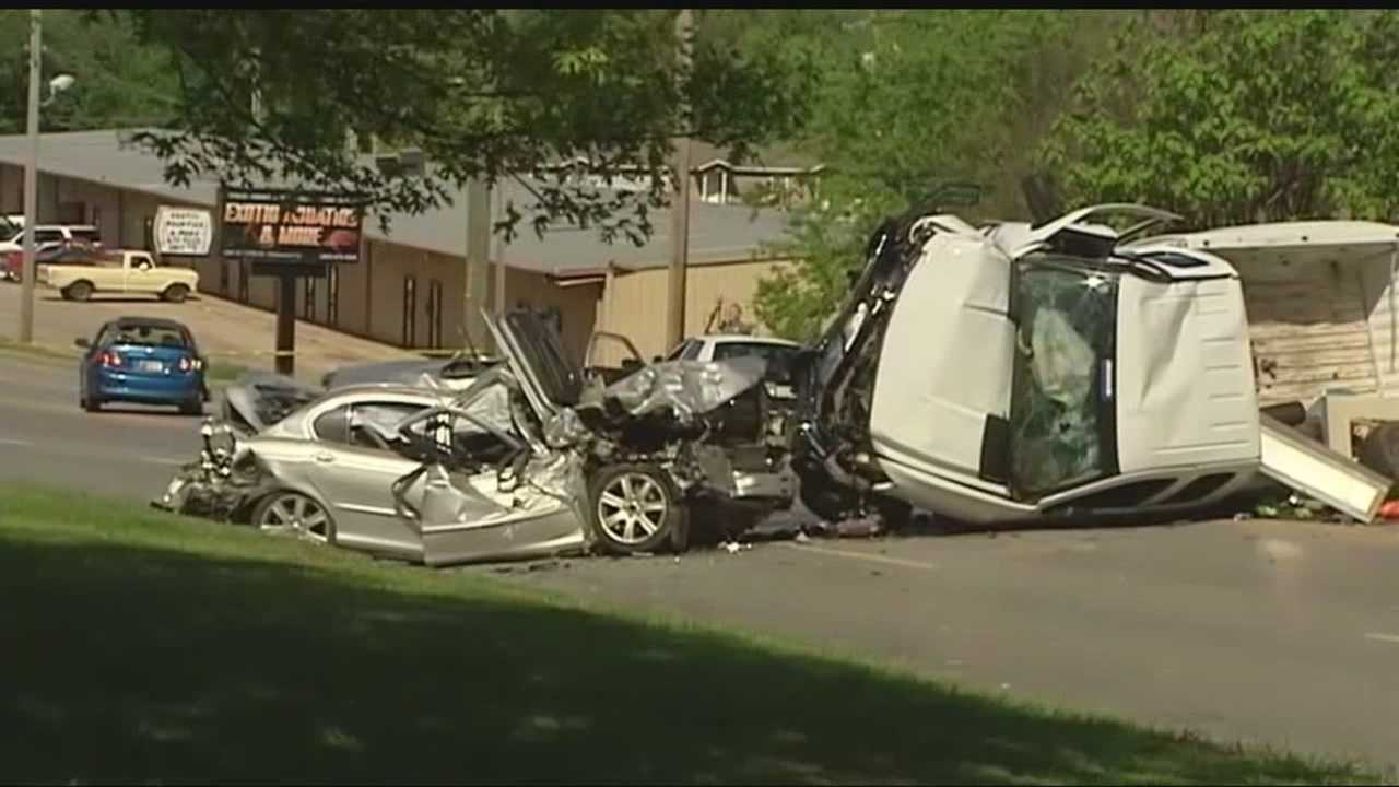 The Mid-Del bus crashed into multiple vehicles Monday morning.