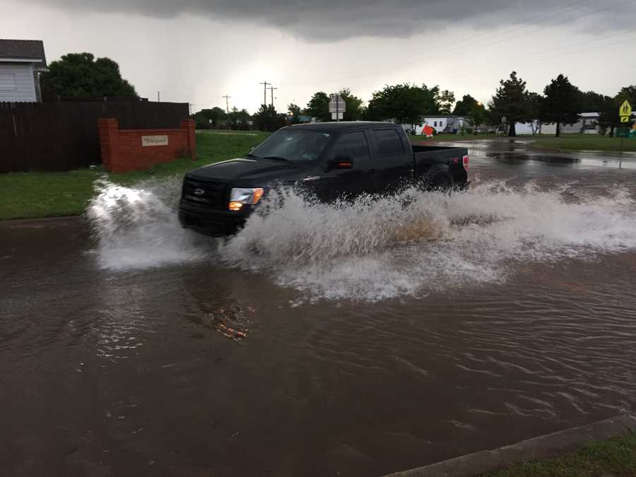 Flooded streets in my neighborhoodLocation : Winfield addition across from Bryant Elementary in Moore