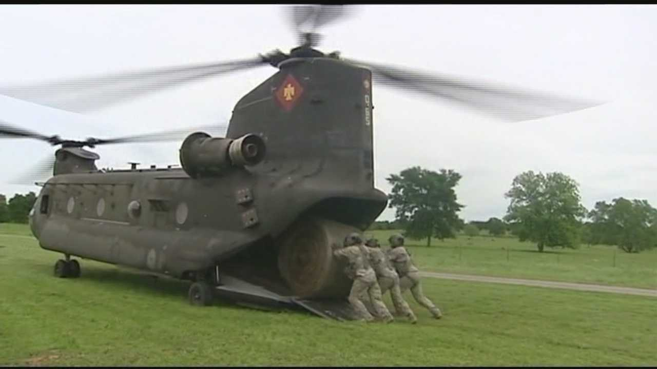 The Oklahoma Army National Guard helped air lift food to cattle trapped by the recent flooding in Bowlegs.