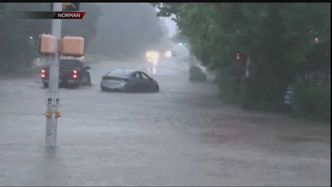 Heavy rains caused many drivers in Norman to get stranded Tuesday evening.