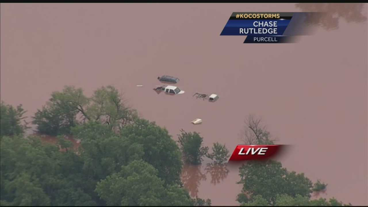 There are evacuations underway in Purcell as Oklahoma experiences historic flooding.