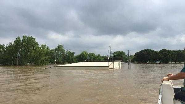 A two story building nearly submerged on Lake Texoma, image credit: Dennis Cavanaugh