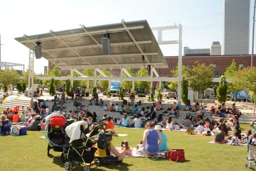 Head out to the Guthrie Green for concerts, movies, festivals, food trucks and more. See the calendar of events at https://www.guthriegreen.com. Photo from Flickr by Tulsa City-County Library.