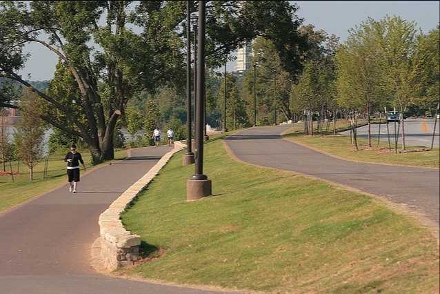 Walk or bike along the Arkansas River for miles at River Parks. Photo from Flickr by David Schuttler.