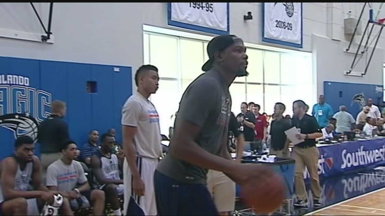 KOCO Sports Director Bryan Keating talked with Thunder forward Kevin Durant about how his foot is feeling and the importance of him being at the Thunder's Summer League games.