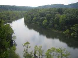 View of the Lower Mountain Fork River from the Cedar Bluff trail at Beavers Bend State Park. Photo from Flickr by Granger Meador.