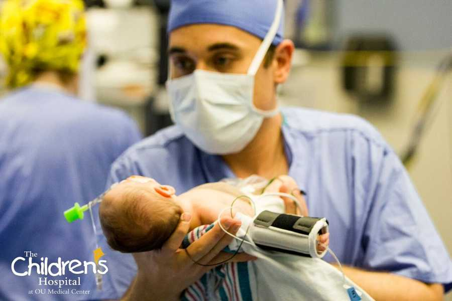 Newborn conjoined twins were successfully separated by a team of physicians, nurses, technologists and staff at The Children's Hospital at OU Medical Center on Wednesday. Photos provided by OU Medical Center.