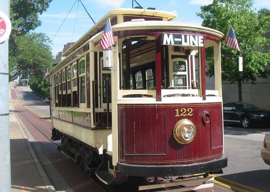 The M-line trolley is free and runs through Dallas. Click here for a map of its route. Photo from Flickr by John Corbett.