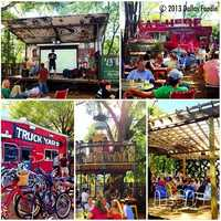 Truck Yard in Lower Greenville is a local favorite. It has a unique outdoor space with a treehouse, food trucks and trailer bars. Photo from Flickr by Dallas_Foodie.