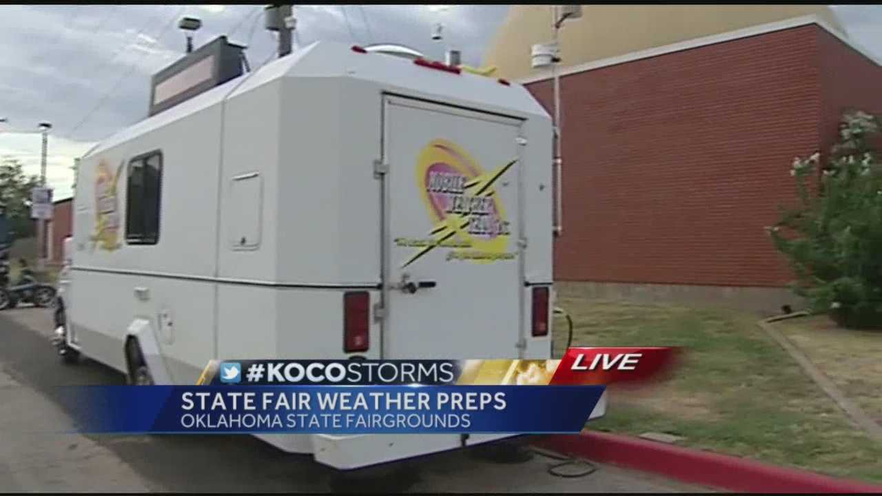 A team is set up at the Oklahoma State Fair to track severe weather.