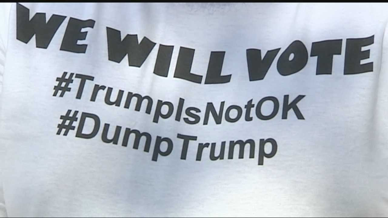 While many Donald Trump supporters were heard from on Friday before the presidential candidate's state fair visit, there were also protesters, who do not support Trump's message.