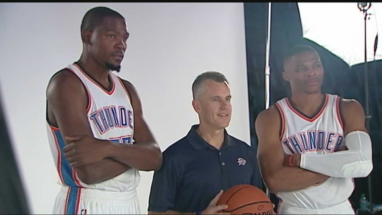 The Oklahoma City Thunder held media day on Monday. Both Kevin Durant and Russell Westbrook talked to the media.