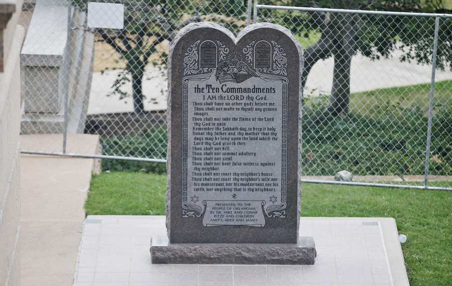 The Ten Commandments monument is pictured on the grounds of the state Capitol in Oklahoma City, Monday, Oct. 5, 2015.